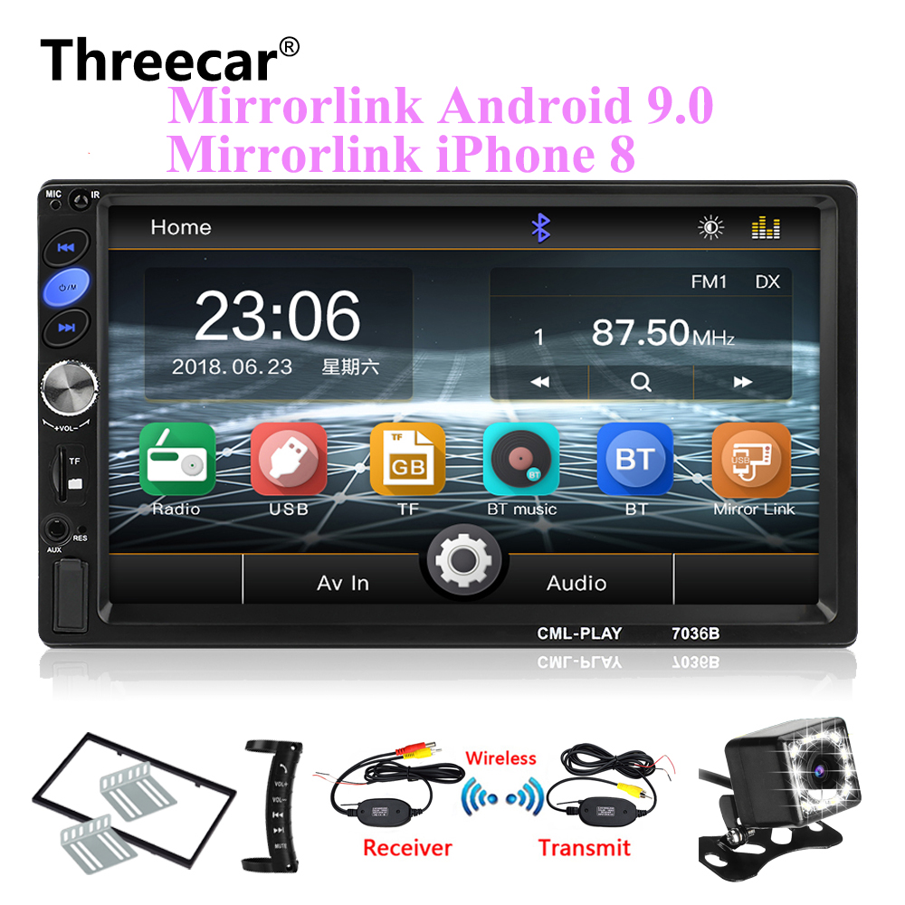 2din Car Radio 7 mirrorlink Android 9 0 Autoaudio for subwoofer MP5 Player Autoradio Bluetooth Rear
