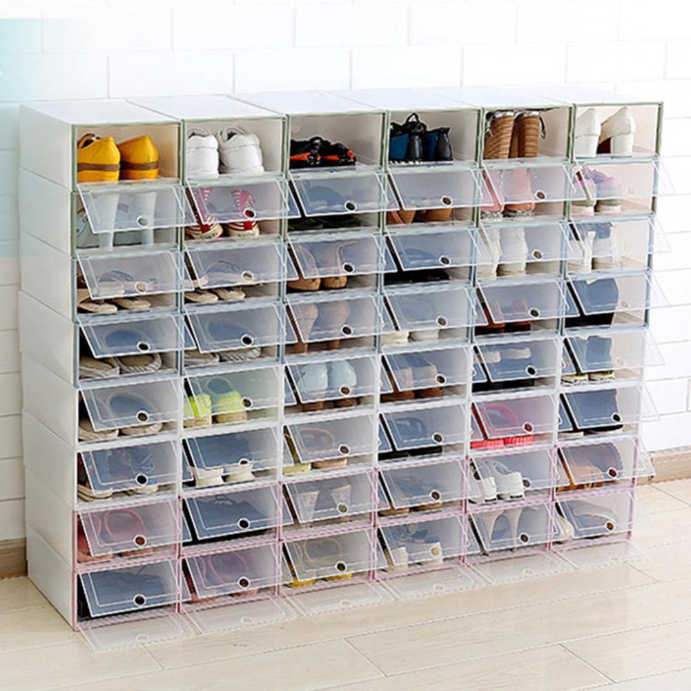 Stackable Dustproof Transparent Flip-Type Shoes Storage Container Box Shoe Organizer Transparent Style Shoes Box PP Shoe Storage