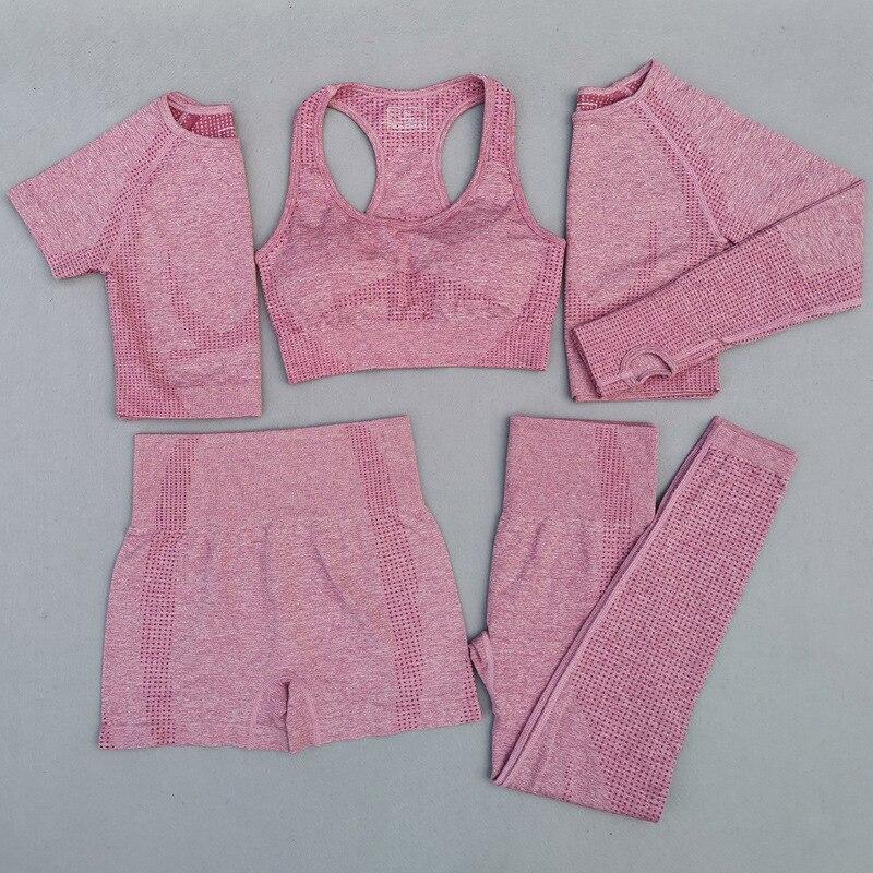 5Pcs Seamless Women Yoga Set High Waist Shorts Sports Suits Athletic Wear Gym Set Sports Bra Fitness Crop Top Short Sleeve Shirt