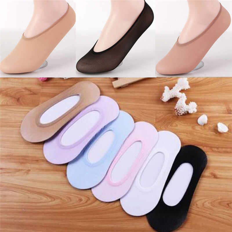Women Cute Invisible Cotton Socks No-Show Nonslip Loafer Low Cut Short Boat Sock