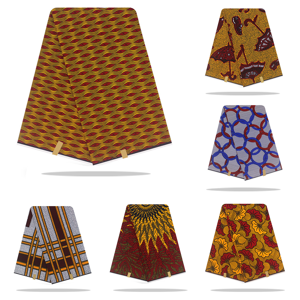 Nigerian African Ankara Gold Real Soft Wax Print Wax Fabric,water Flower 100% Cotton African Clothes Material