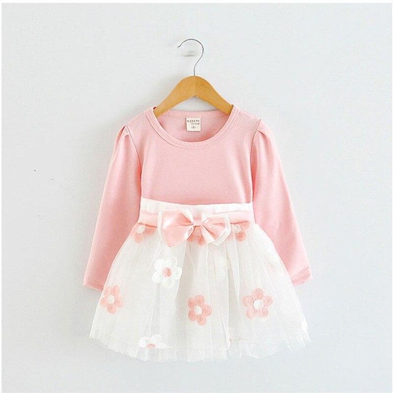 Коллекция года, зимнее платье с длинными рукавами для маленьких девочек, платье на крестины, день рождения, возраст от 0 до 2 лет, платье для новорожденных повседневная одежда для детей повседневная одежда - Цвет: Pink dress