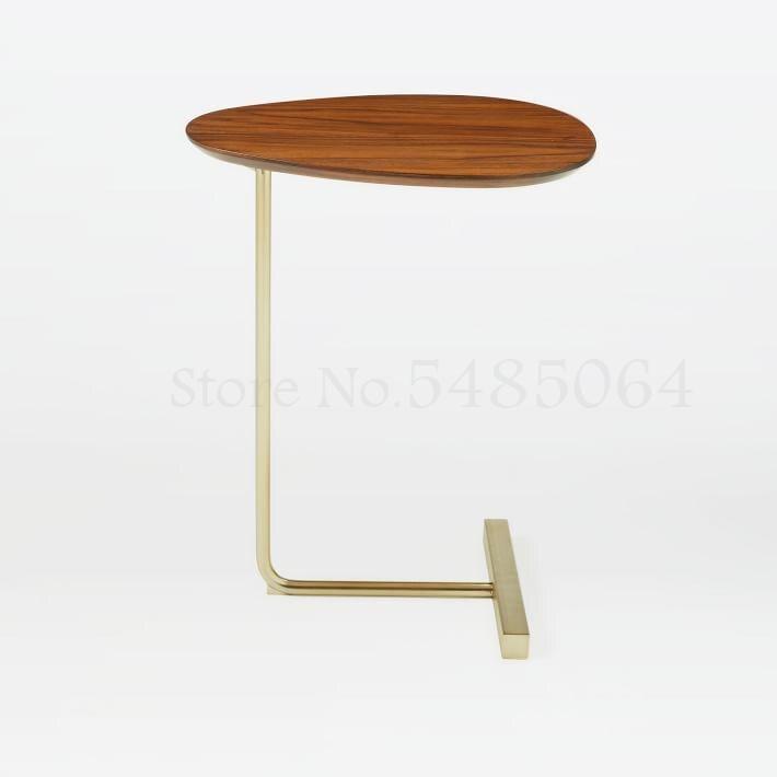 Креативный простой овальный журнальный столик, мобильный Железный угловой столик из массива дерева для дивана, прикроватный столик для чте...