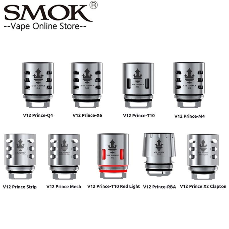 Original smok tfv12 príncipe bobina v12 príncipe rba q4 m4 x6 t10 malha tira núcleo apto para tfv12 príncipe tanque núcleos de cigarro eletronic