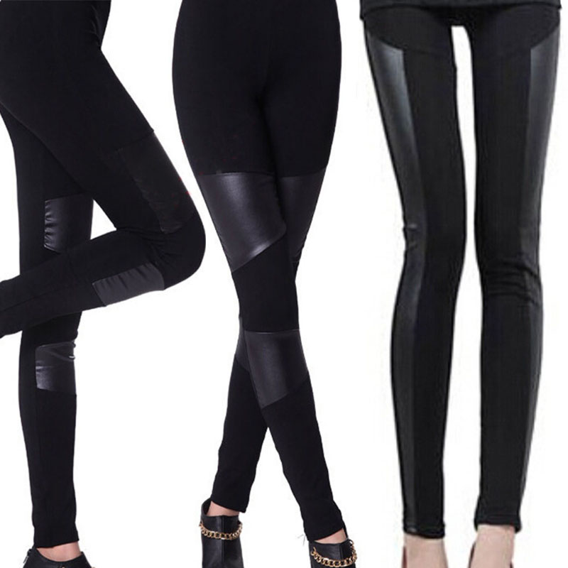 Autumn Winter Warm Women Patchwork Stitching Elastic Leatherette Leggings Stretchy Slim Ladies Pencil Black Leather Leggings