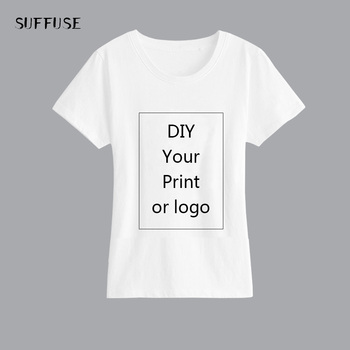 Custom printed T Shirt for Women DIY Picture LOGO Text Print White Lady Slim Top Tees Heat Transfer Process image