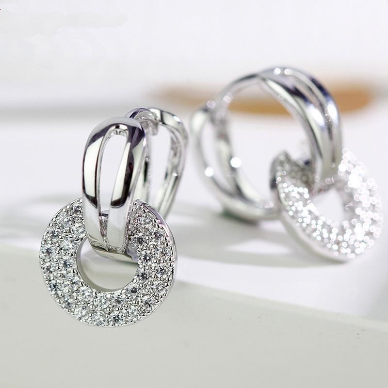 Cute Female Small Crystal Clip Crystal Small Zircon Stone Earrings For Women Boho Rose Gold Double Earrings