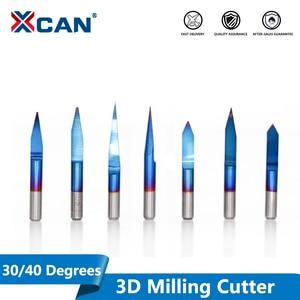 XCAN 10pcs Blue Coating PCB 3D Engraving Bits 30/40 Degrees Carbide V Shape CNC Router Bit Milling Cutter for CNC Engraving