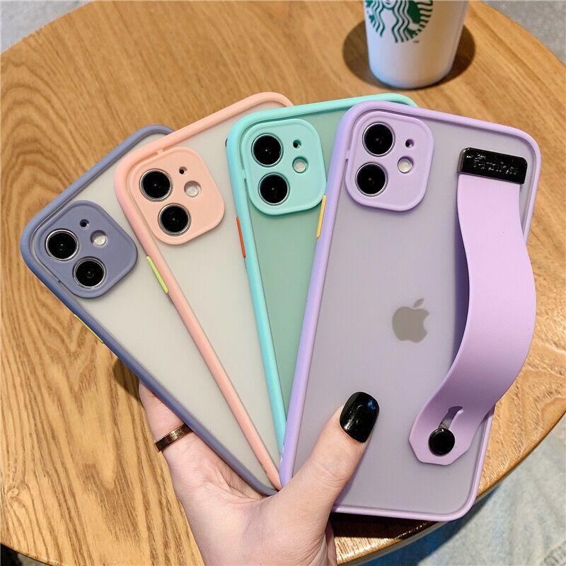 Hybrid Hit Color Matte Camera Protection Shockproof Bumper Wrist Strap Holder Case For iPhone 12 11 Pro Max XR XS 8 7 Plus Case