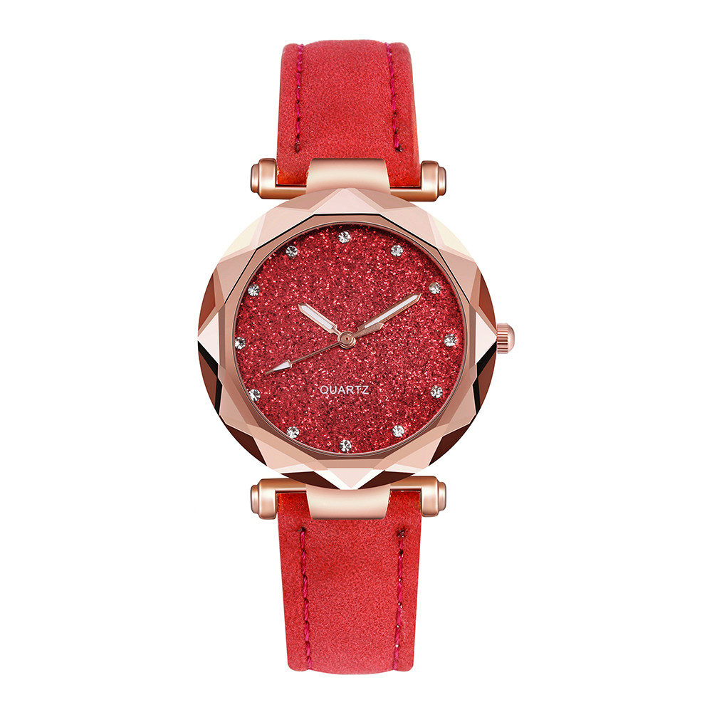 Ladies Watch Luxury Women Watch Rhinestone Starry Sky Watches Leather Quartz Wristwatch Female Clock Reloj Mujer Kol Saati Fi