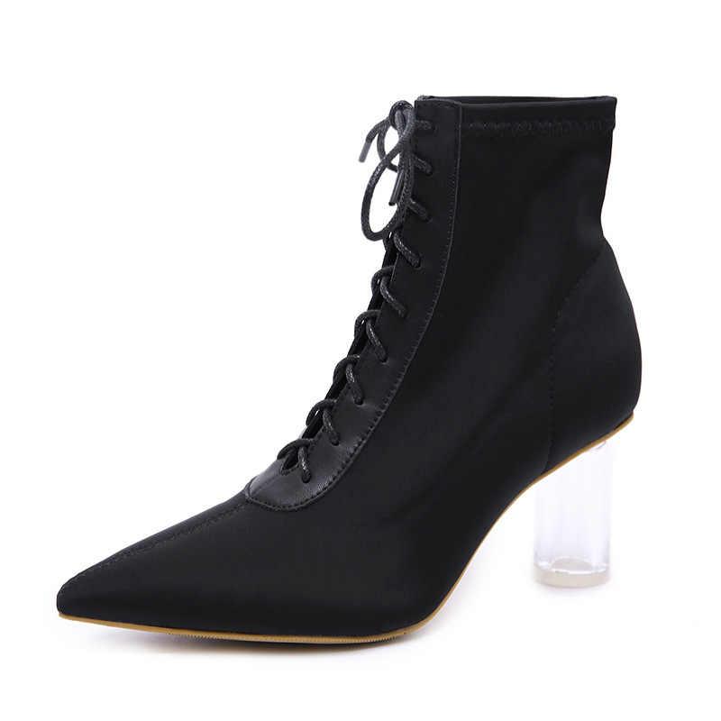 ขนาดใหญ่ขนาด pointy กลางลูกวัวบู๊ทส์หญิง elegant คริสตัลรองเท้าส้นสูง patchwork botines เซ็กซี่ cross lace-up ผ้าไหมเชลซี botas mujer