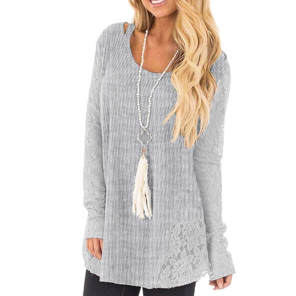 Loose Long Sleeve Knitted sweater Blouse Women/'s Tops Solid Casual Sweater