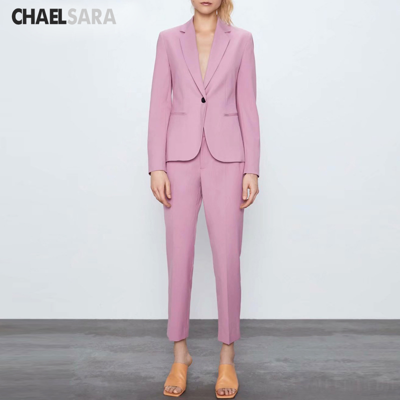 2020 New Spring Autumn Pants Suit Women 4 Color Single Button Office Lady Blazer Jacket +Pant 2 Piece Set Female Suit