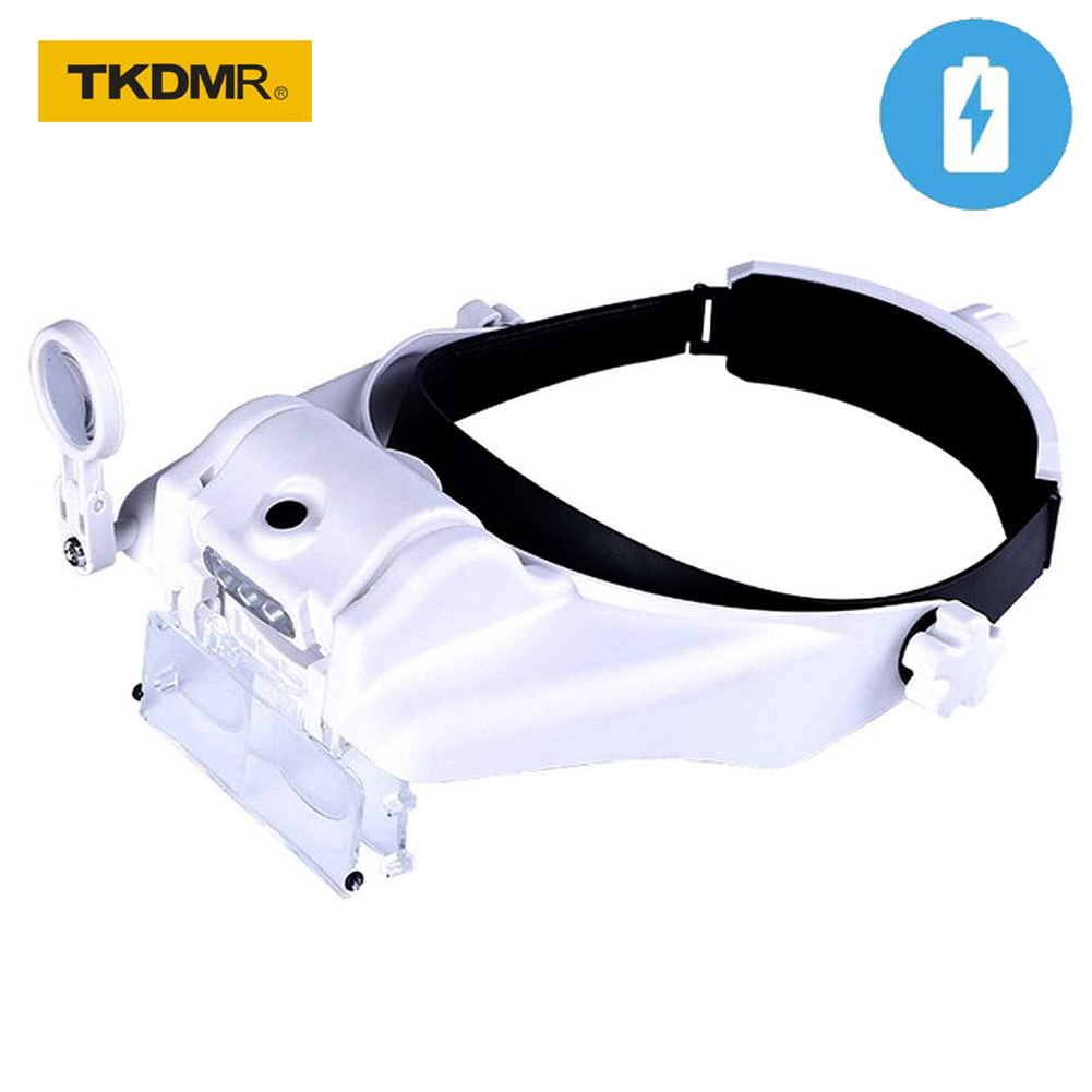 TKDMR USB Rechargeable Headband Loupe Glasses Magnifier Illuminated Magnifying Glass with 2LED Light Magnification For Soldering