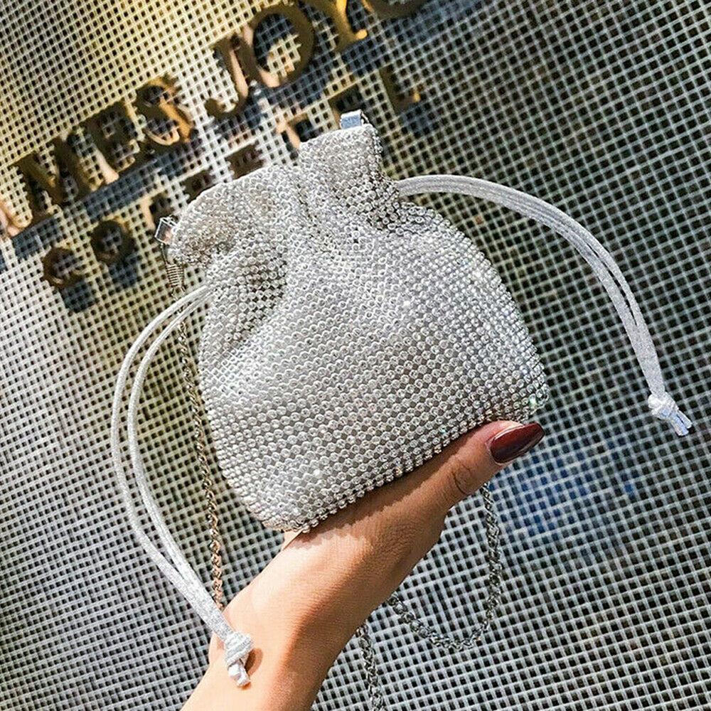 New Women's Mini Diamante Clutch Bag Evening Bridal Wedding Fashion Prom Handbag