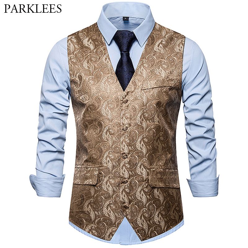 New Men's Printing Double Pocket Single-Breasted Vest 2019 Fashion Wedding Party Slim Dress Vest Waistcoat Men Costume Homme