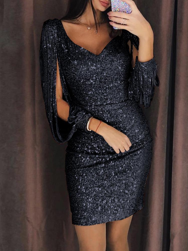 BacklakeGirls сверкающие пикантные V образным вырезом Ленточки рукав сплошной Цвет Короткие коктейльные платья «Холодное торжество», расшитое пайетками; обувь для ночного клуба платье коктейль Elbiseleri