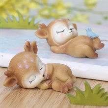 Toy Decorative-Accessories Model-Figurines Household-Decoration Deer Fawn Kawaii Animal