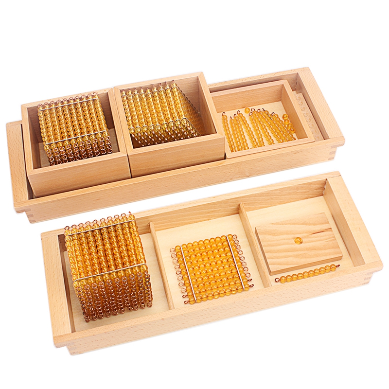 Montessori Math Educational Toys Gold Beads Material Symbols With Trays Kids 5 Years Teaching Toys Students Learning Arithmetic