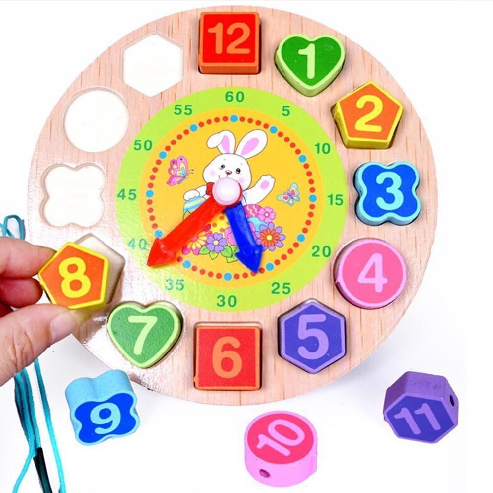 Wood Digital Geometry Clock Wooden Blocks Toys Children Educational Toy Wooden Animal Cartoon Toys For Baby Boy Girl