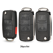Jingyuqin 20 Stks/partij Flip Auto Afstandsbediening Flip Key Shell Case Fob Voor Vw Jetta Golf Passat Beetle Polo Bora MK4 seat Altea Skoda