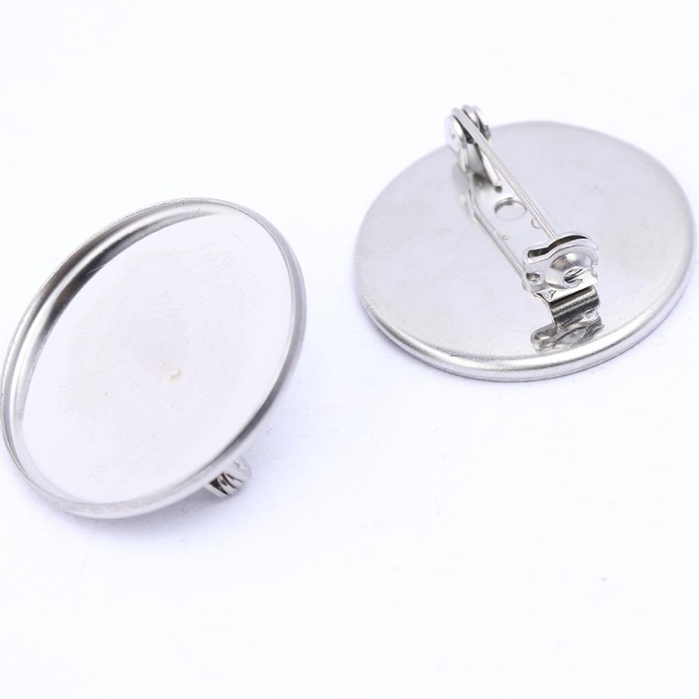 10pcs 20mm 25mm Cabochon Brooch Base Settings Stainless Steel Brooches Backing Blanks Diy Accessories For Jewelry