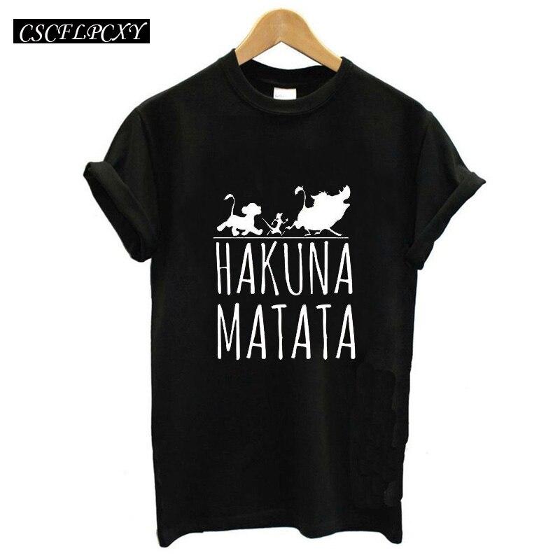 2017 Hakuna Matata Lettera Della Stampa Tee Shirt Homme Donne Di Estate T Shirt A Manica Corta Plus Size Women Casual
