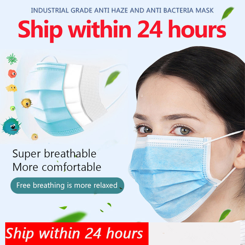 CC 10pcs Face Mouth Mask Disposable Protect 3 Layer Non-woven Earloops Masks Fast Shipping Masque Anti-Dust Maske Health Safe