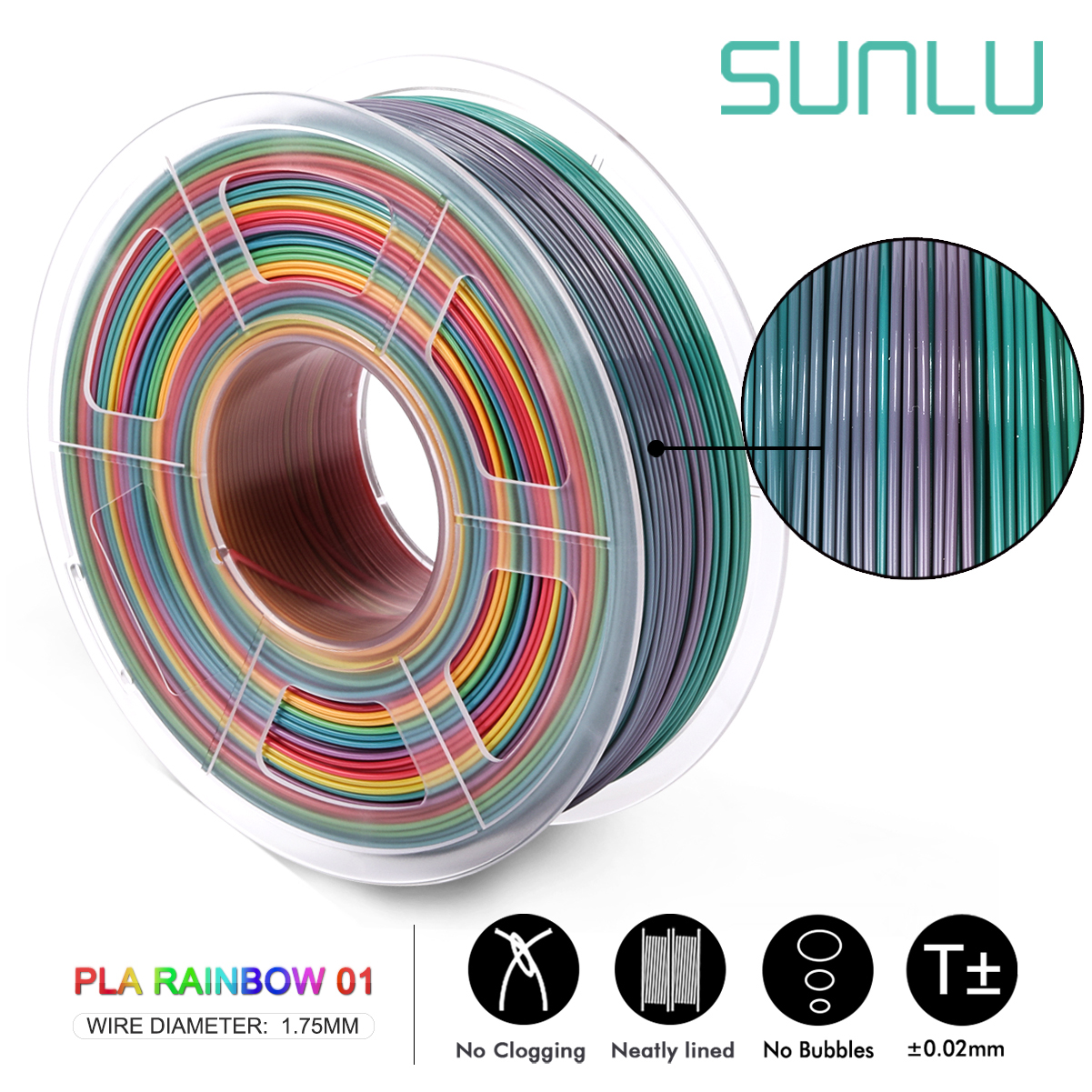 PLA 1.75 mm Filament 1 kg Rainbow Multicolor Updated Winding No Tangles
