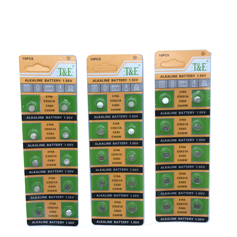 30 PCS 379 Watch Battery AG0 LR521 521 1.55V sr521sw CX63 Button Cell Battery For Watch Toys Remote Coin Battery wholesale
