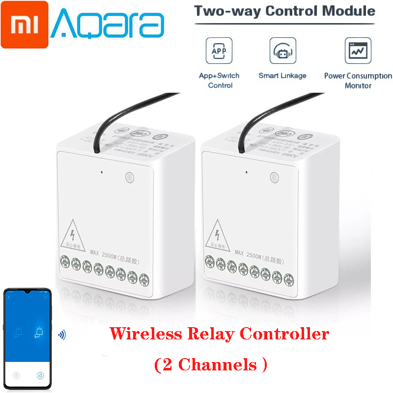 Xiaomi Aqara Relay Two-way Control Module Wireless Zigbee Relay Controller 2 Channels Smart Light Control Switch Multiple Devic