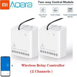 Xiaomi Aqara Relay Two-way Control Module Wireless Zigbee Relay Controller 2 channels Smart Light Control Switch Multiple Devic