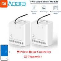Xiaomi Aqara przekaźnik dwukierunkowy moduł sterujący bezprzewodowy kontroler przekaźnika Zigbee 2 kanały inteligentny przełącznik światła wiele urządzeń