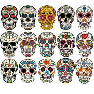 West Skulls Set Thermal Transfer Street Hiphop Patches Washable Diy T-Shirt Jeans Decoration Heat Transfer Iron On Transfers