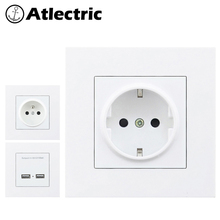 Atlectric  PC Plastic Panel EU FR French Standard Power Socket With Dual USB Ports For Mobile 86mm*86mm Outlet Plug