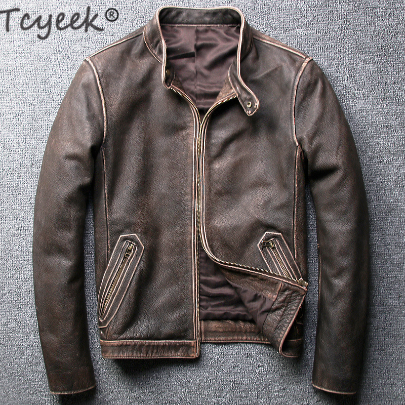 Tcyeek Winter Autumn Genuine Leather Jacket Men Streetweaar Real Sheepskin Coat Man Moto Biker Vintage Cow Leather Jackets 805