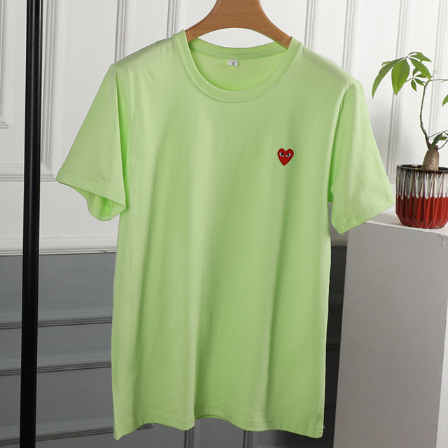 Couple T-Shirt 2020 Casual O-Neck Embroidery Single Love-Heart Breathable Tshirt Casual Summer  Man Women 5