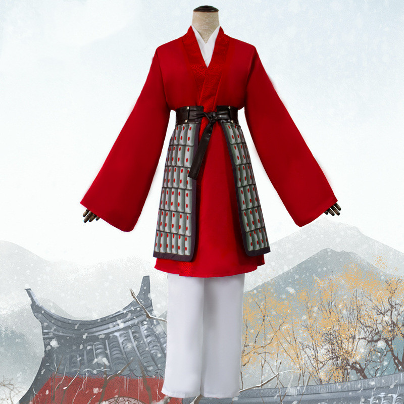 Movie Mulan 2020 Costume Princess Hua Mulan Cosplay Costume Red Fancy Dress Chinese Han Fu Adult Halloween Carnival Outfit Movie Tv Costumes Aliexpress