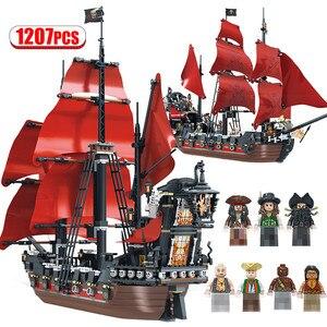 Новинка 1270 шт, пиратский корабль, строительные блоки для Lepining Queen Anne Revenge Boat 3D модель DIY, кирпичи, игрушки для детей