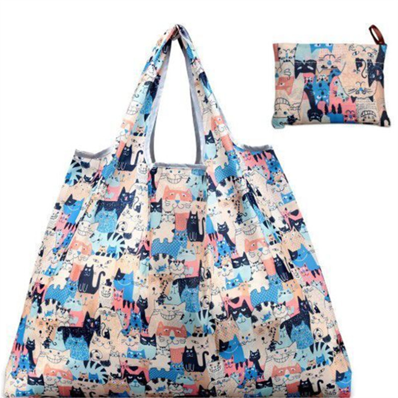 New Cartoon Shopping Bag Lady Foldable Oxford Cloth Reusable Fruit Grocery Pouch Recycle Organization Bag