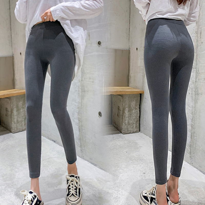 Casual Warm Slim Cotton Leggings Women Winter Gray Ankle-Length Legging Pants Big Size Female Elastic High Waist Trousers Black