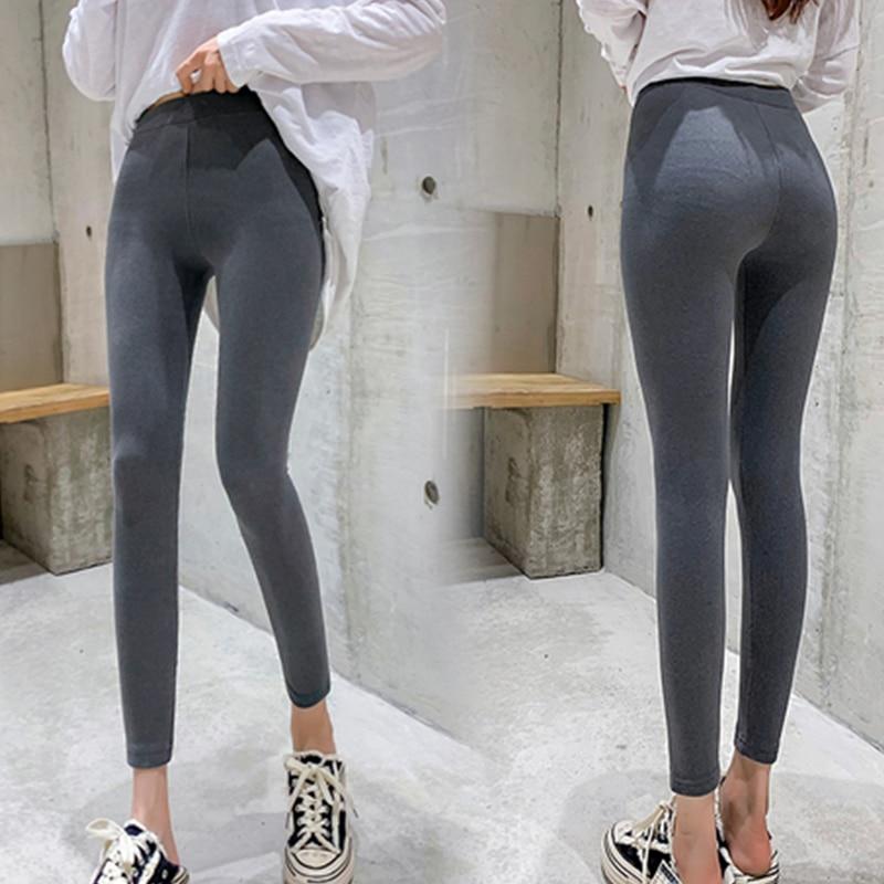 Casual Warm Slim Cotton Leggings Women Winter Gray Ankle-Length Legging Pants Big Size Female Elastic High Waist Trousers Black