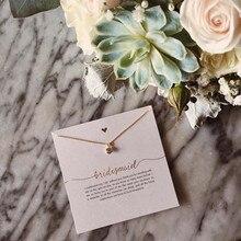 Dama de honra rosa cristal ouro pingente colar corrente colar moda feminina casamento jóias dama de honra, presente da dama de honra