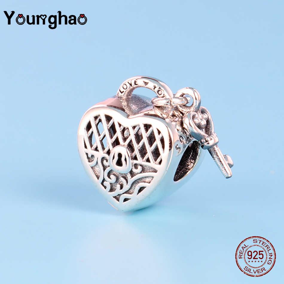 Younghao แท้ 100% 925 Sterling Silver Heart & Key สำหรับเครื่องประดับทำ Love ลูกปัดพอดีสร้อยข้อมือ PANDORA สร้อยข้อมือ