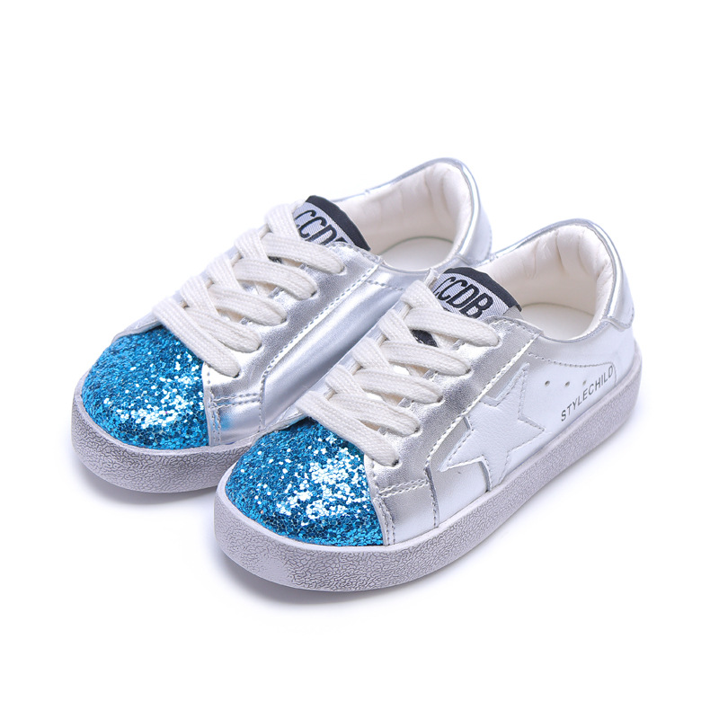 Kids Shoes For Boys White PU Tennis Shoes For Girls Princess Casual Shoes Children Running Sneakers Fashion Sequins Bling Star