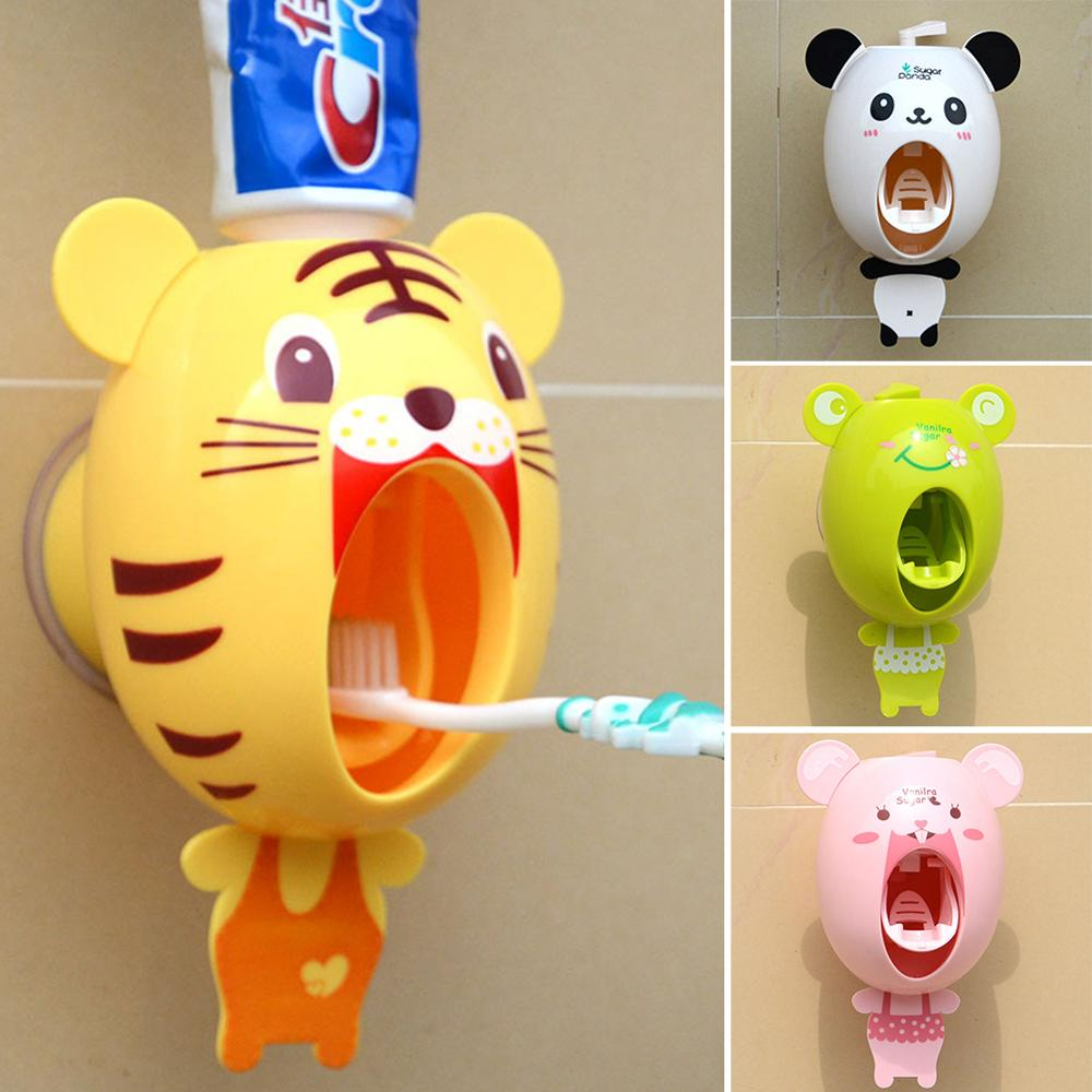 Cartoon Animals Design Strong Suction Sucker Style Bathroom Household Toothbrush Holder Children Automatic Toothpaste Dispenser image