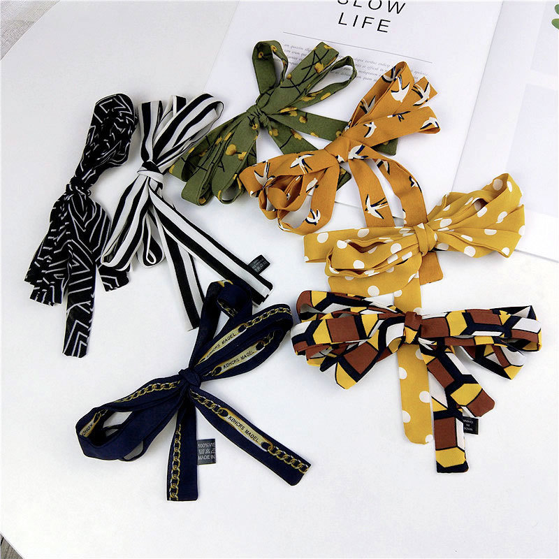 2x150cm New Stripes Flower Polka Dot Printed Hand Bag Silk Ribbon Scarfs For Ladies Hair Wrap Tie Scarf Headband Neckerchief