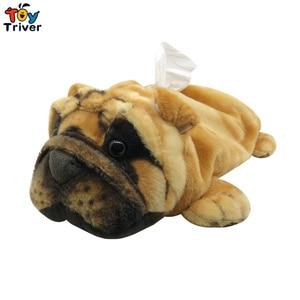 Shar pei Sharpei Dog Plush Toy Napkin Paper Holder Tissue Box Bath Room Shop Car Office Decorations Kids Children Gift Crafts(China)