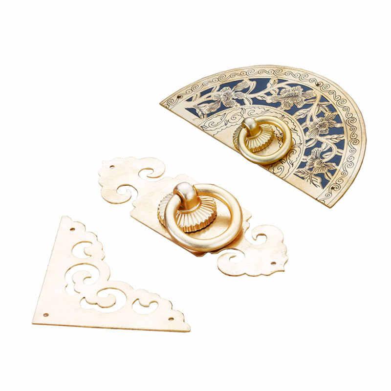 LBA çin klasik antika dolap dolap mobilya donanım kolu tek delik saf bakır dekoratif itme çekme kapı kolu
