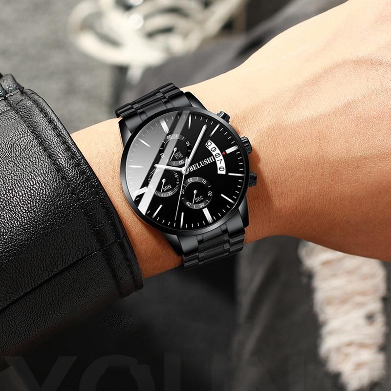 Belushi Fashion Men'S Quartz Watch Chronograph Sport Men Watches Waterproof Clock Multi-Function Night Light Male